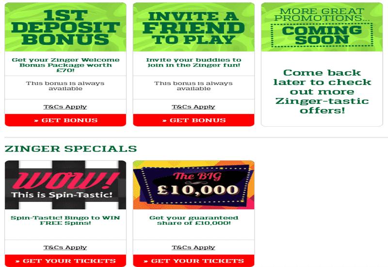 Zinger Bingo Casino Promotion