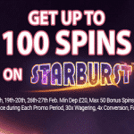 100 Bonus Spins on Starburst from Black Spins