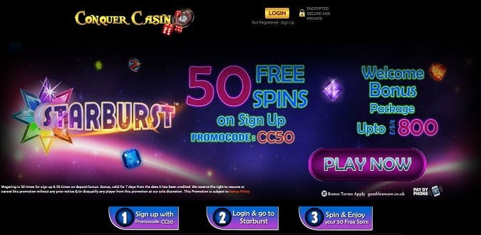 Conquer Casino bonus + free spins