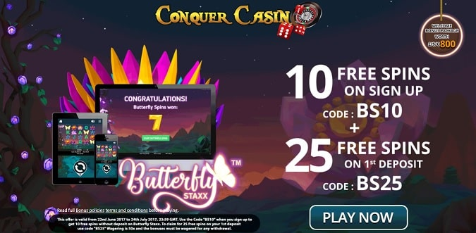 Conquer Casino free spins