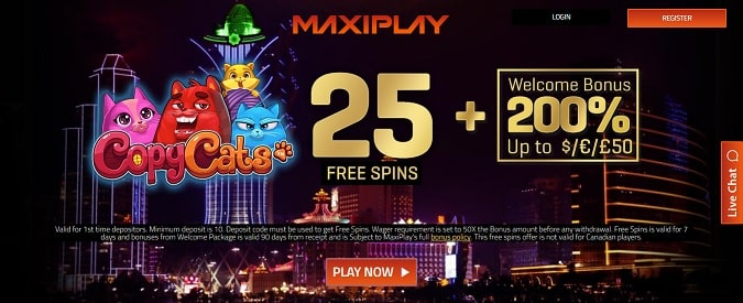 MaxiPlay Casino Free Spins + Bonus