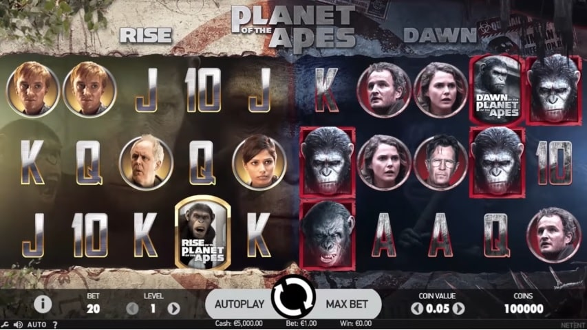 Planet of the Apes Video Slot from NetEnt