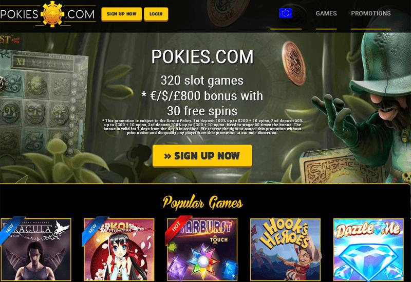 Pokies.com Casino Home Page