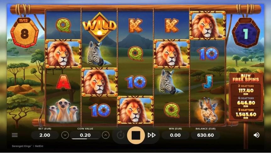 Serengeti Kings Video Slot - NetEnt