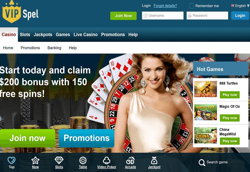 VIPSpel Casino Home Page